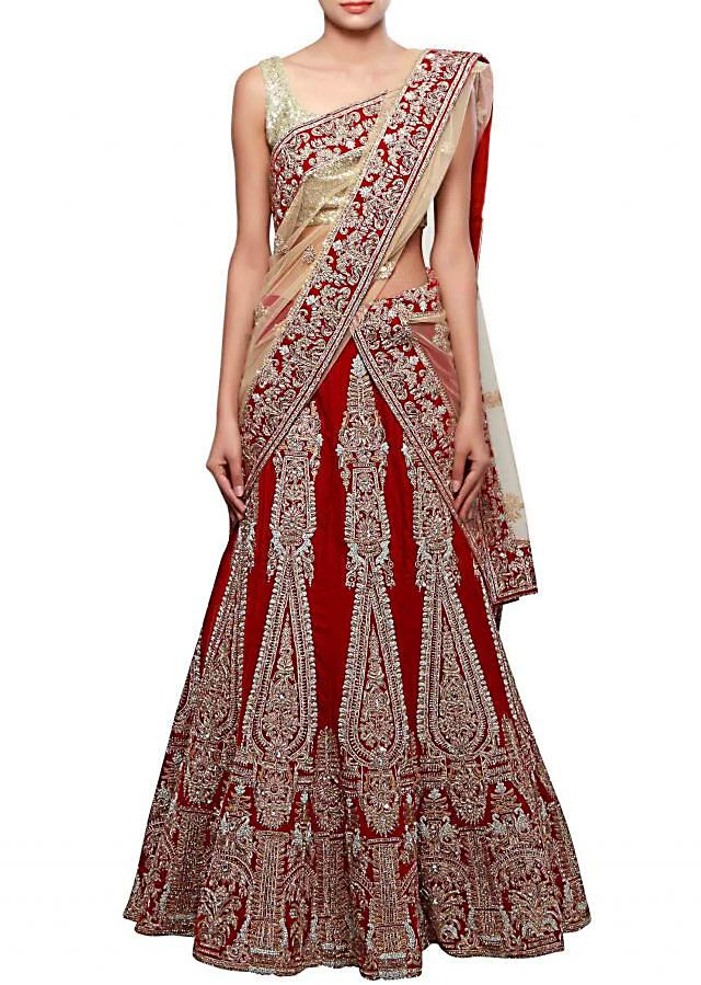 Unstitched lehenga in maroon adorn in zardosi embroidery only on Kalki