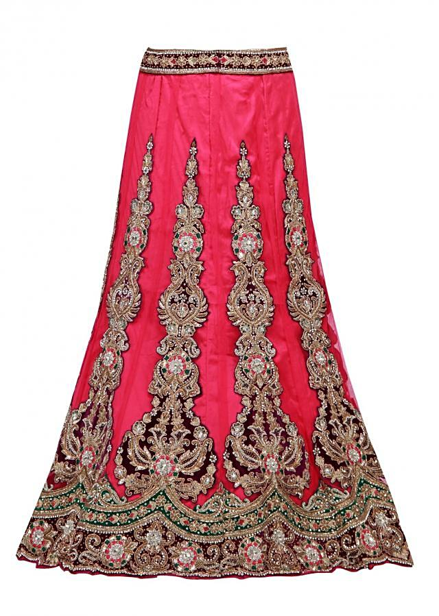 Unstitched lehenga in pink net with embroidered kali
