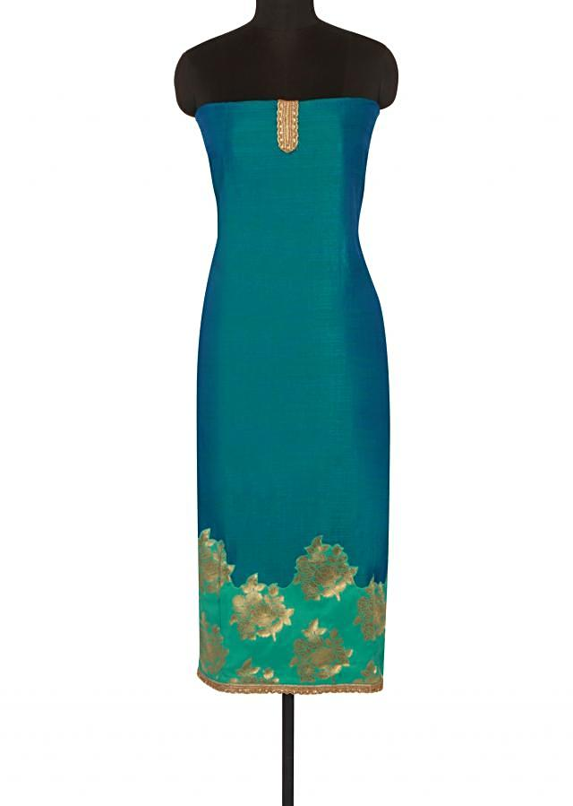 Unstitched suit adorn in sea green brocade only on Kalki