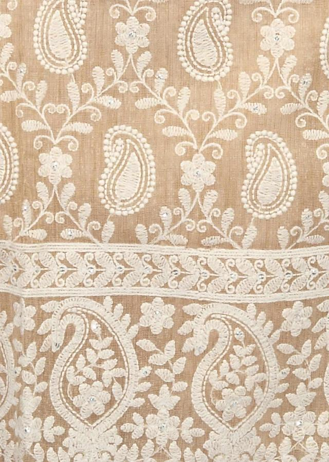 Unstitched Suit Adorn In Thread Embroidery In Paisley Motif Only On Kalki