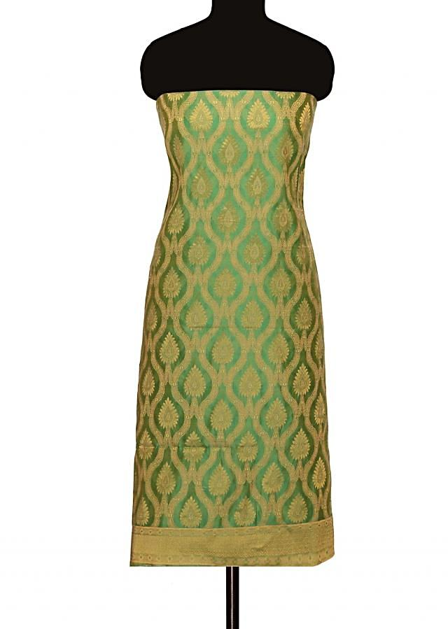 Unstitched suit in fern green with silk dupatta only on Kalki