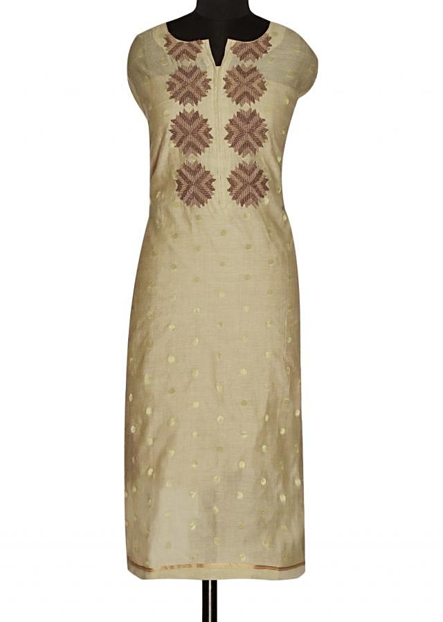 Unstitched suit in light cream with printed dupatta only on Kalki