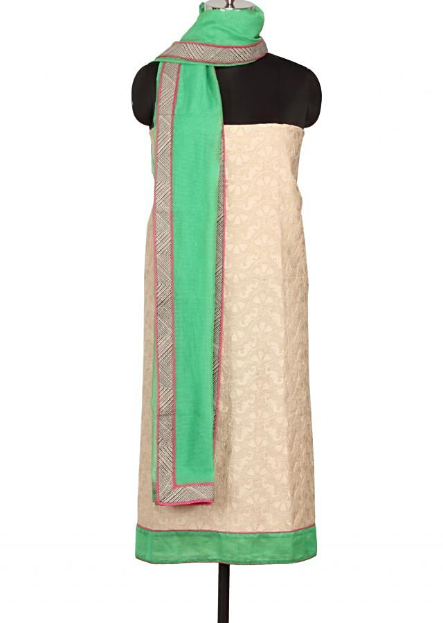 Unstitched suit in light grey embellished in thread embroidery only on Kalki