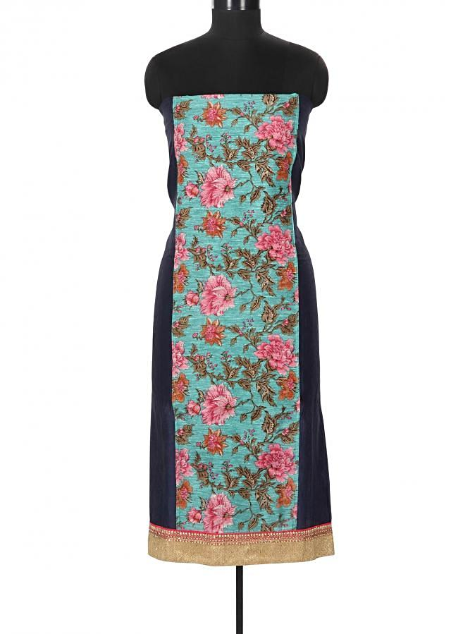 Unstitched suit in navy blue enhanced in floral print