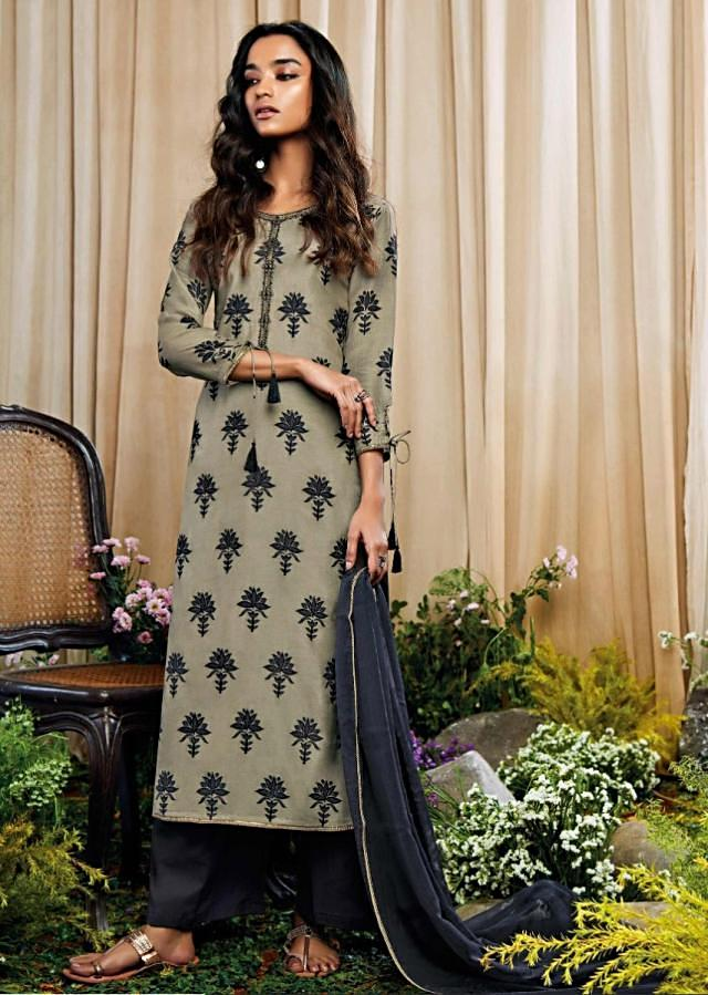 Sage Green Unstitched Suit With Thread And Zari Embroidered Butti And Placket Online - Kalki Fashion