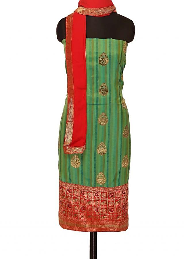 Unstitched suit in shaded of green with red dupattaonly on Kalki