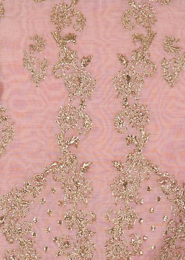 Unstitched suit in lilac pink with zari embroidery only on Kalki