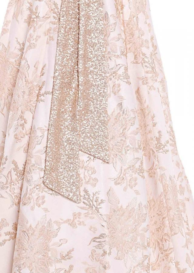 Vanilla pink lehenga with sequined crop top blouse only on Kalki
