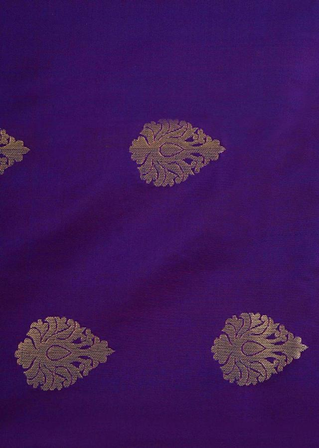 Violet saree in silk beautified in weaved embroidery only on Kalki
