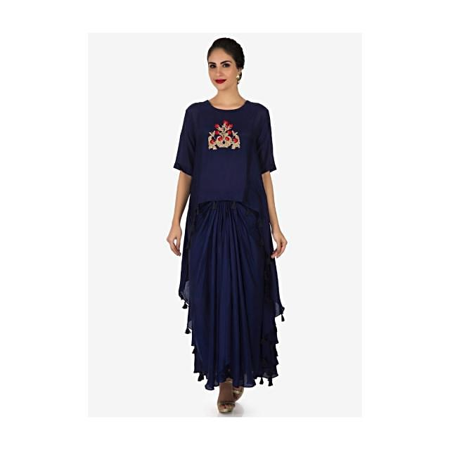 Violet top with skirt enhanced in french knot and pita zari work only on Kalki