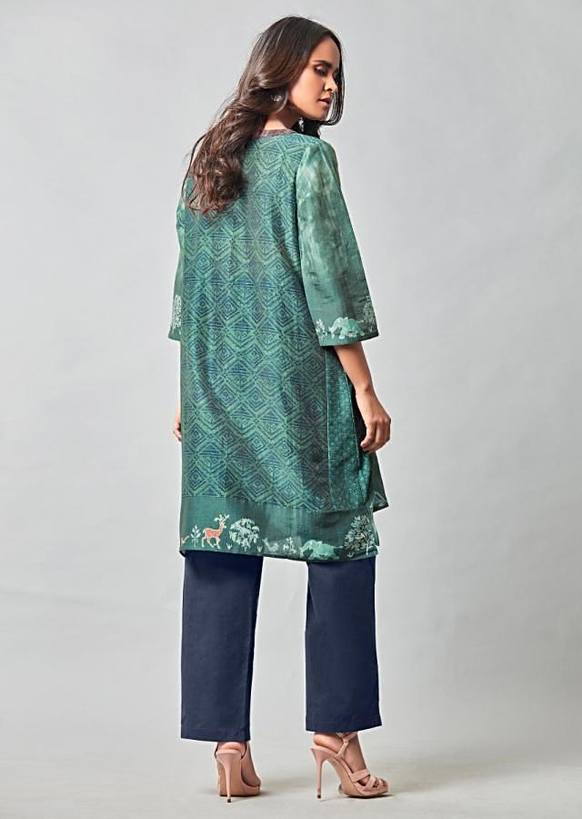 Viridian Green Kurta In Cotton With Space Blue Cotton Straight Cut Pants Online - Kalki Fashion