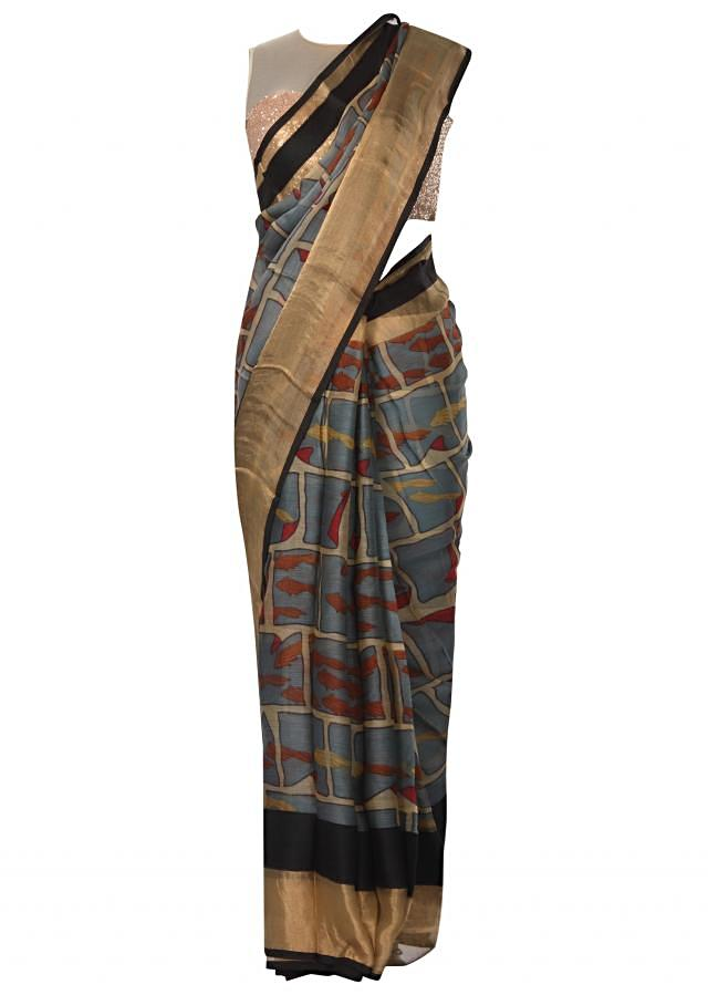 Vista blue saree in silk with abstract checks print all over only on Kalki