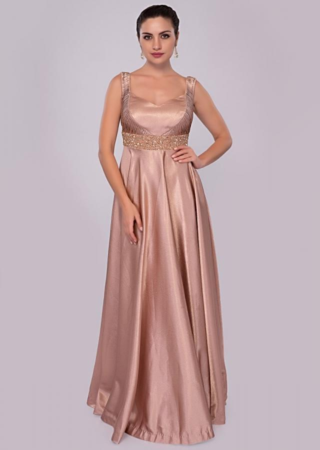 Warm taupe brown milano satin gown with embroidered empire line only on Kalki