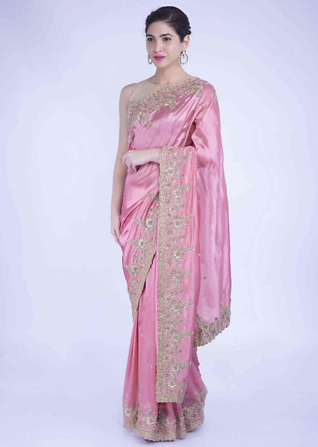 Watermelon Pink Saree In Silk With Floral Embroidered Buttis And Border Online - Kalki Fashion