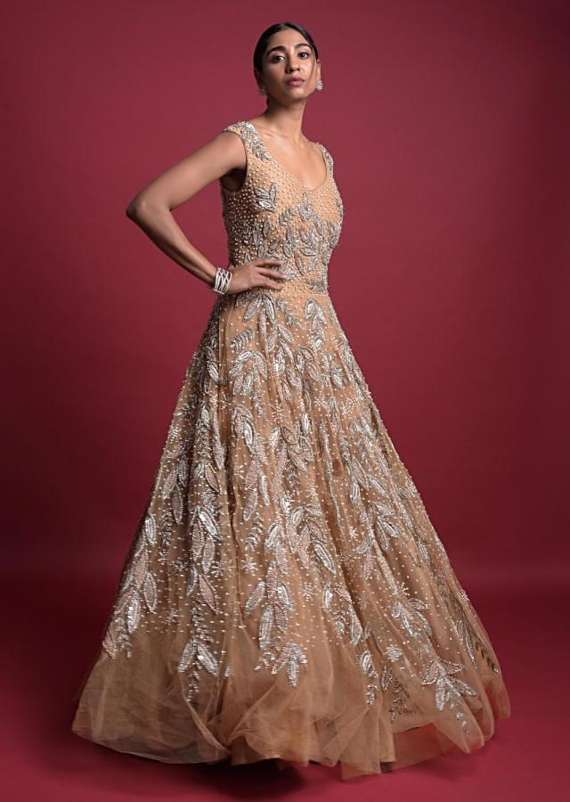 Wheat Gold Ball Gown In Net With Embroidered Leaf Motifs Online - Kalki Fashion