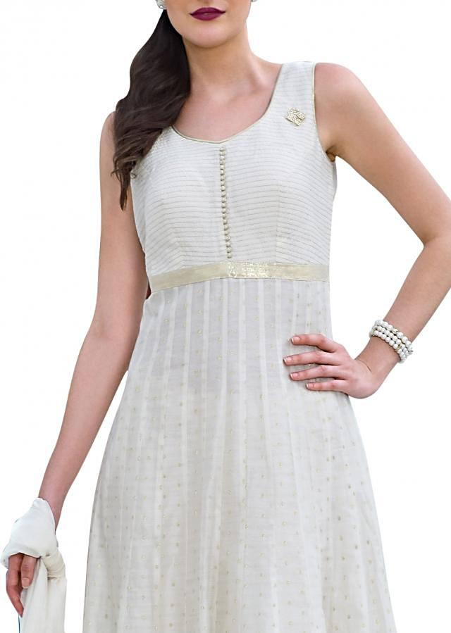 White anarkali suit adorn in weave embroidery