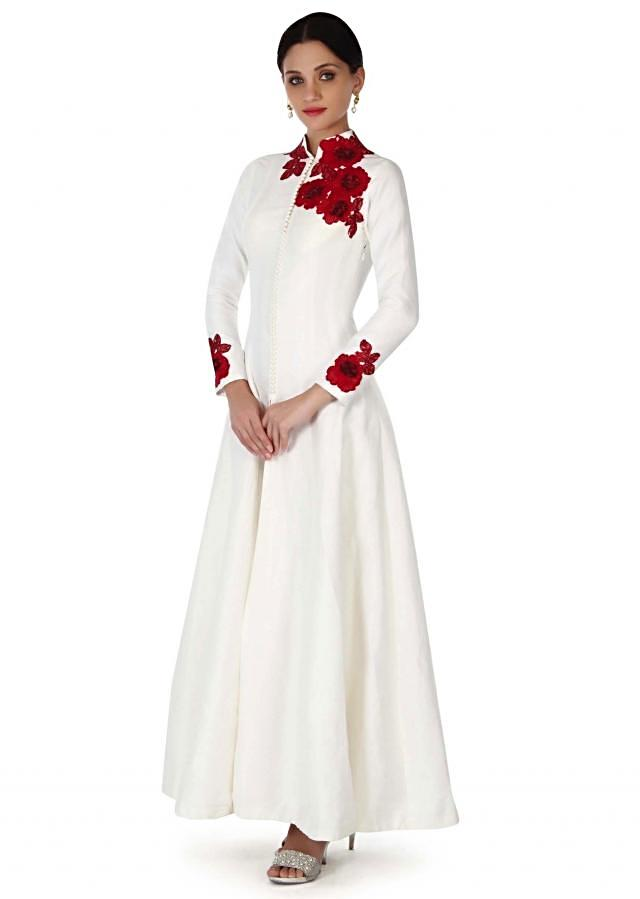 White anarkali suit adorn in rose motif embroidery only on Kalki