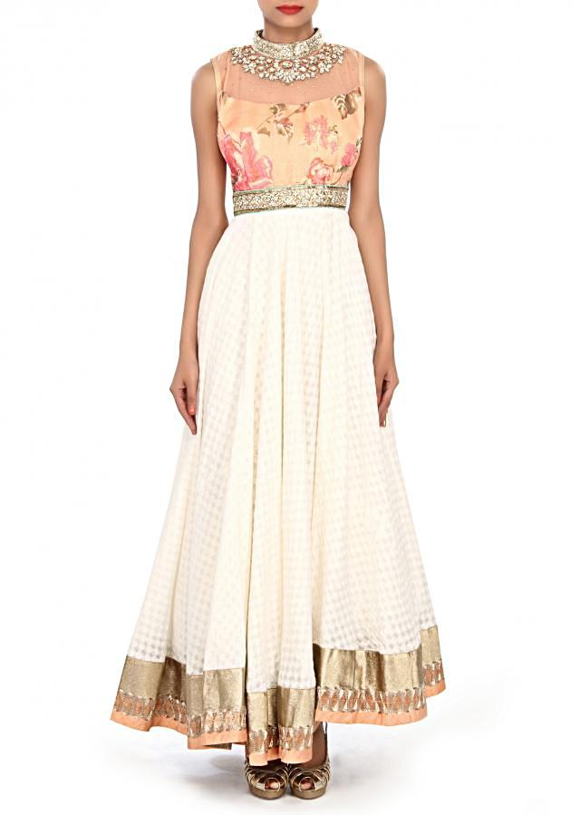 White anarkali suit embellished in zardosi and printed bodice only on Kalki
