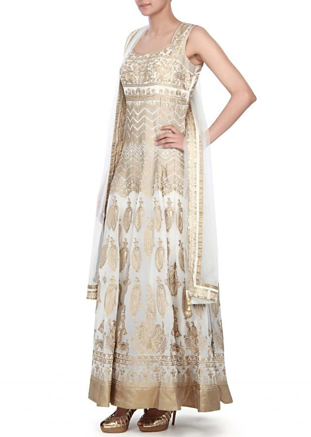 White anarkali suit embellished in zari all over only on Kalki