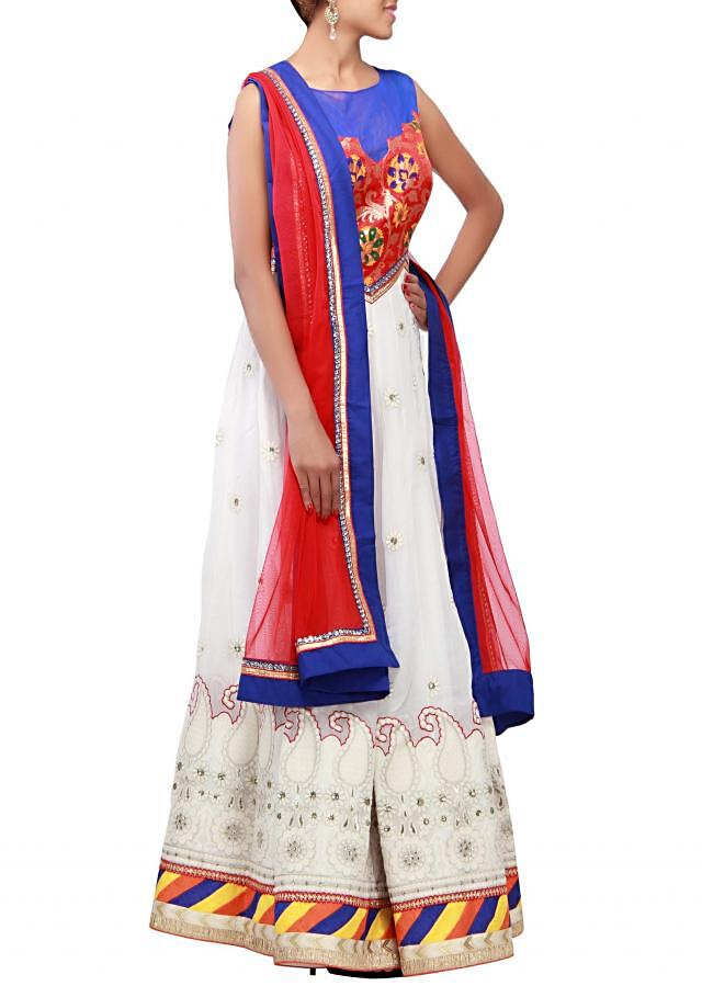 White anarkali suit featuring with red brocade bodice only on Kalki