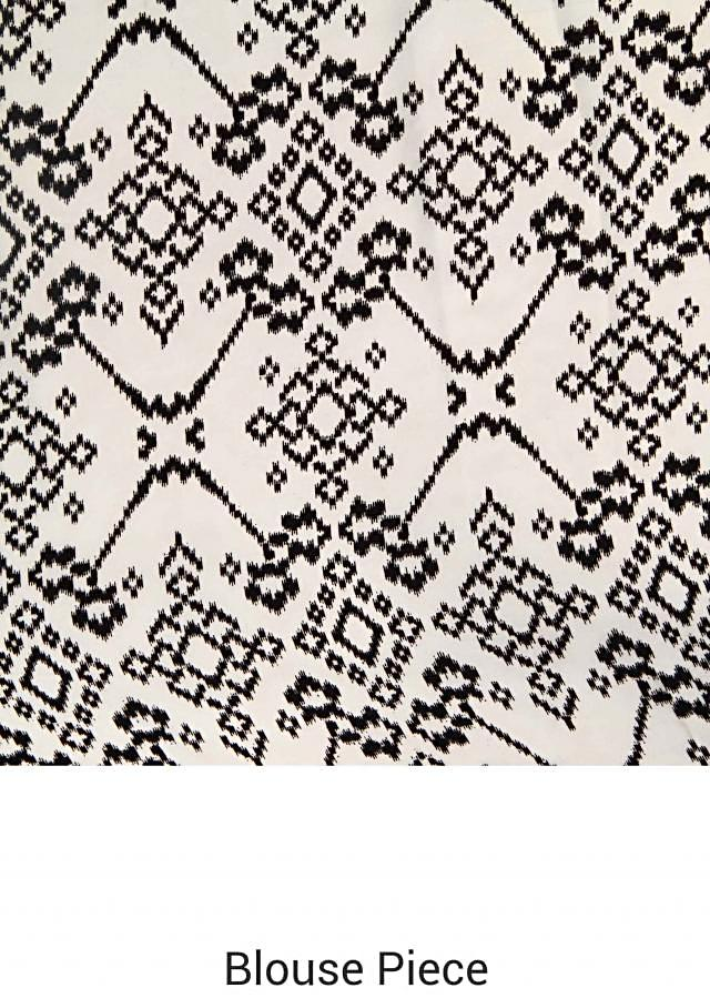 White and black abstract printed saree only on Kalki