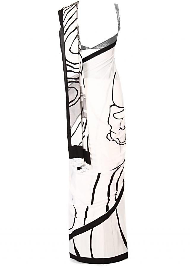 Zebra strokes white and black in saree in abstract print only on Kalki