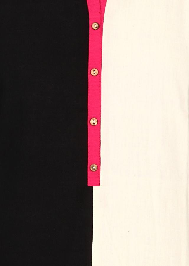 White and black kurti in pink contrast piping only on Kalki
