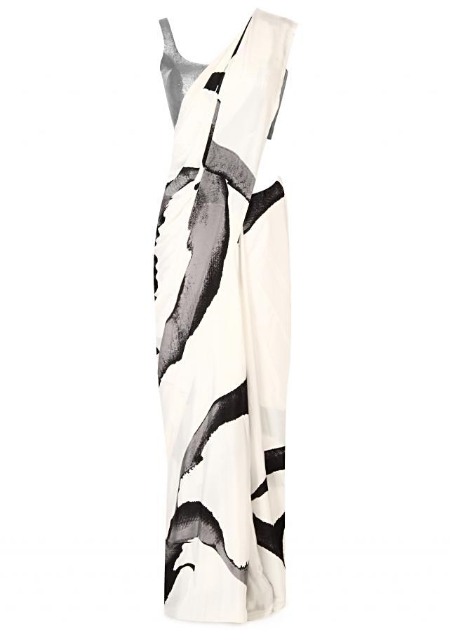 White and black saree in abstract print only on Kalki