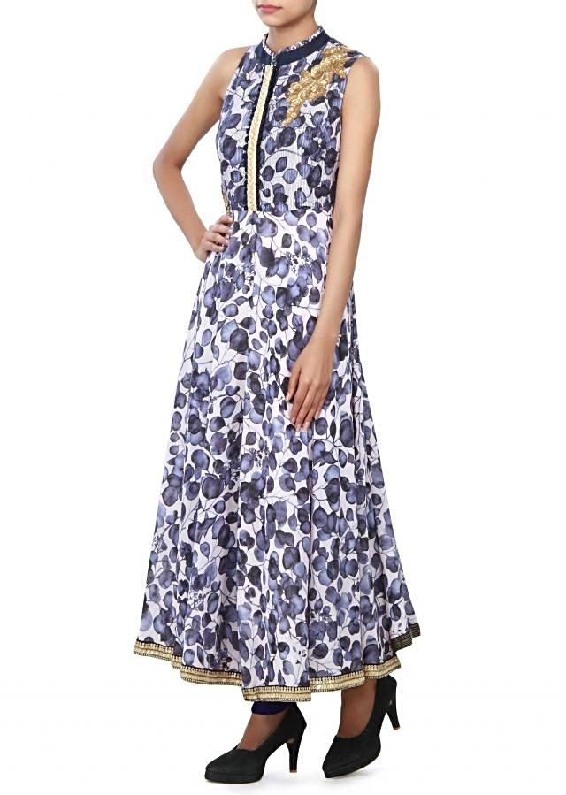 White and blue anarkali suit embellished in thread and zari embroidery only on Kalki