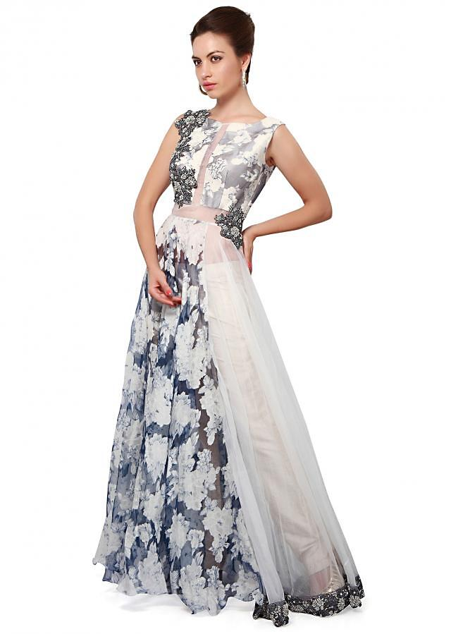 White and blue anarkali suit enhanced in zardosi and French knot embroidery only on Kalki
