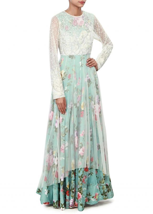 White and blue dress featuring in resham and sequin embroidery only on Kalki