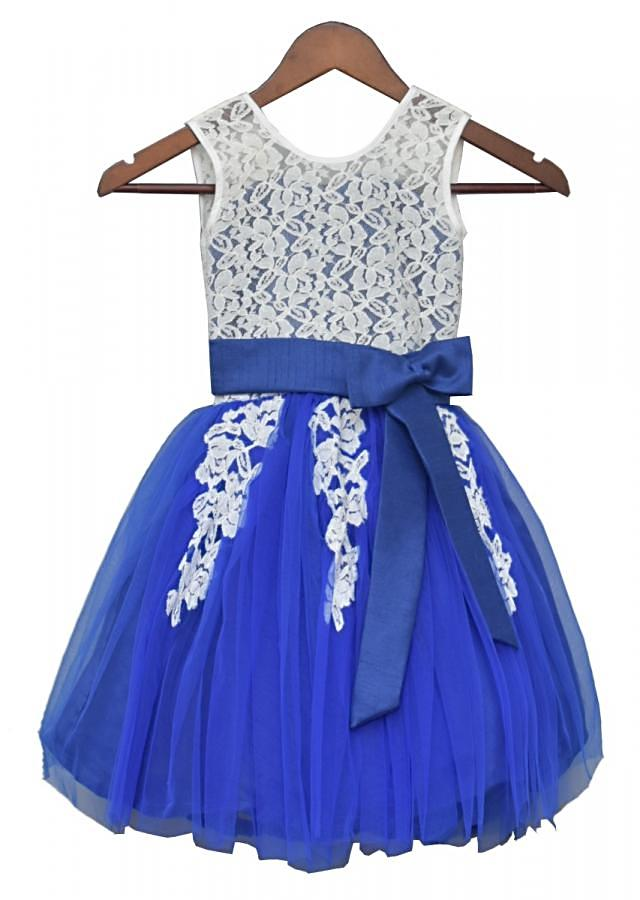 White And Blue Dress With Lace Bodice By Fayon Kids