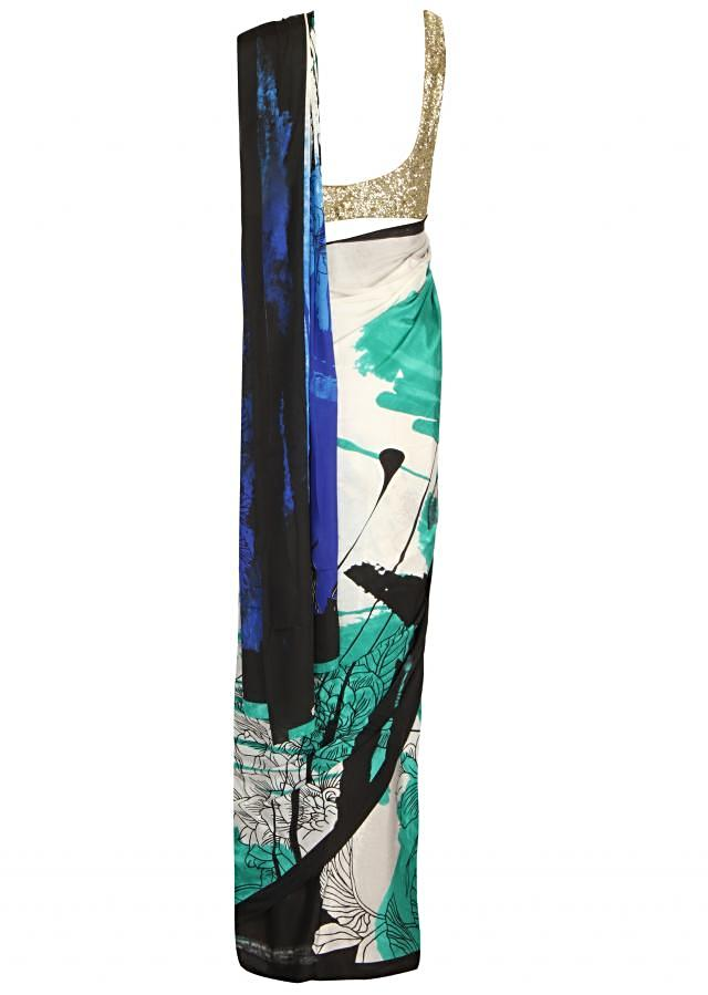 White and blue saree with abstract print only on Kalki