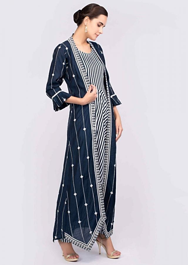 White And Blue Jumpsuit With Striped Pattern Teamed With An Indigo Blue Long Silk Jacket Online - Kalki Fashion