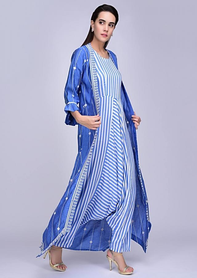 White And Blue Striped Jumpsuit In Silk Paired With A Pacific Blue Embroidered Jacket Online - Kalki Fashion