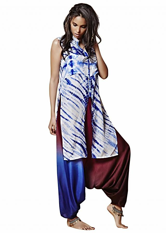 White and blue tunic in front slit with cowl pants only on Kalki