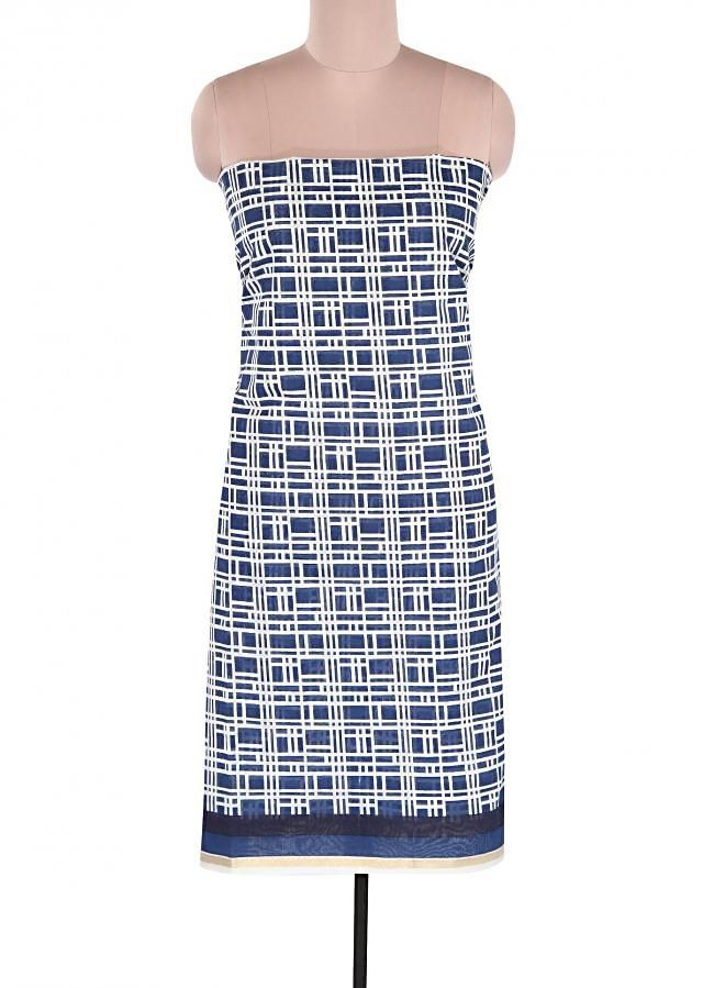 White and blue unstitched suit featuring with geometric motif print only on Kalki