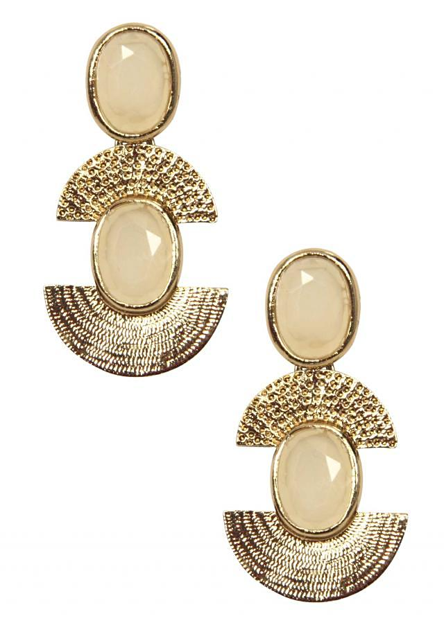 White and gold brass earring only on Kalki