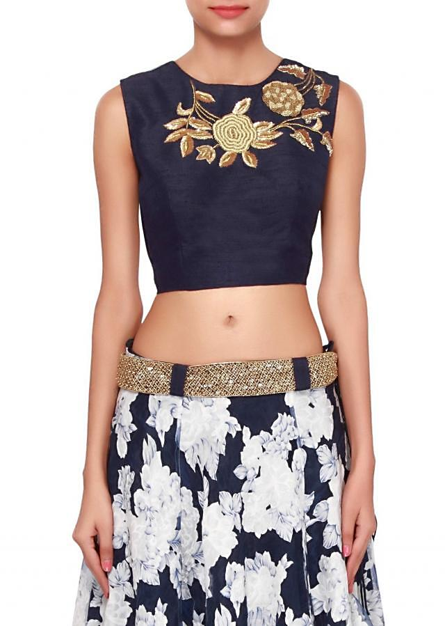 White and navy blue lehenga features in print only on Kalki