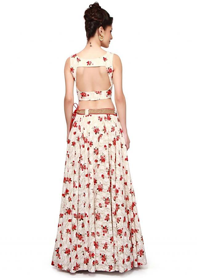 White and red crop top with skirt in floral print only on Kalki