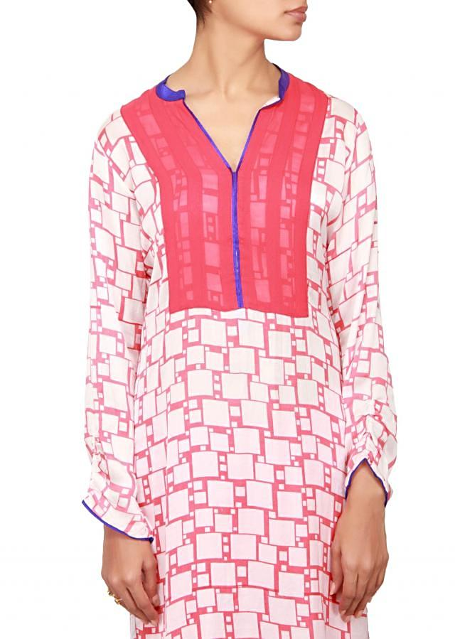 White and red satin a-line suit embellished in print only on Kalki