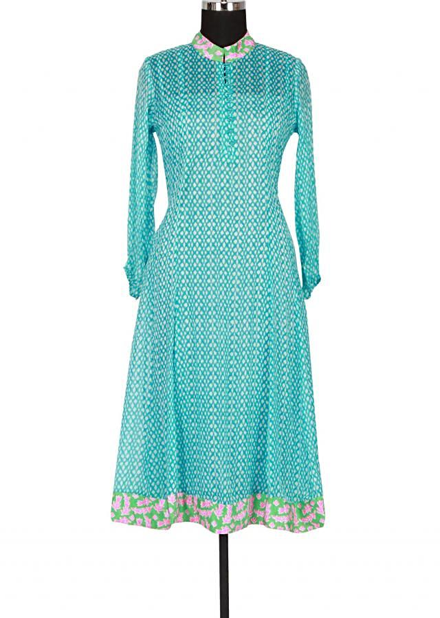 White and sky-blue printed kurti featuring in georgette only on Kalki