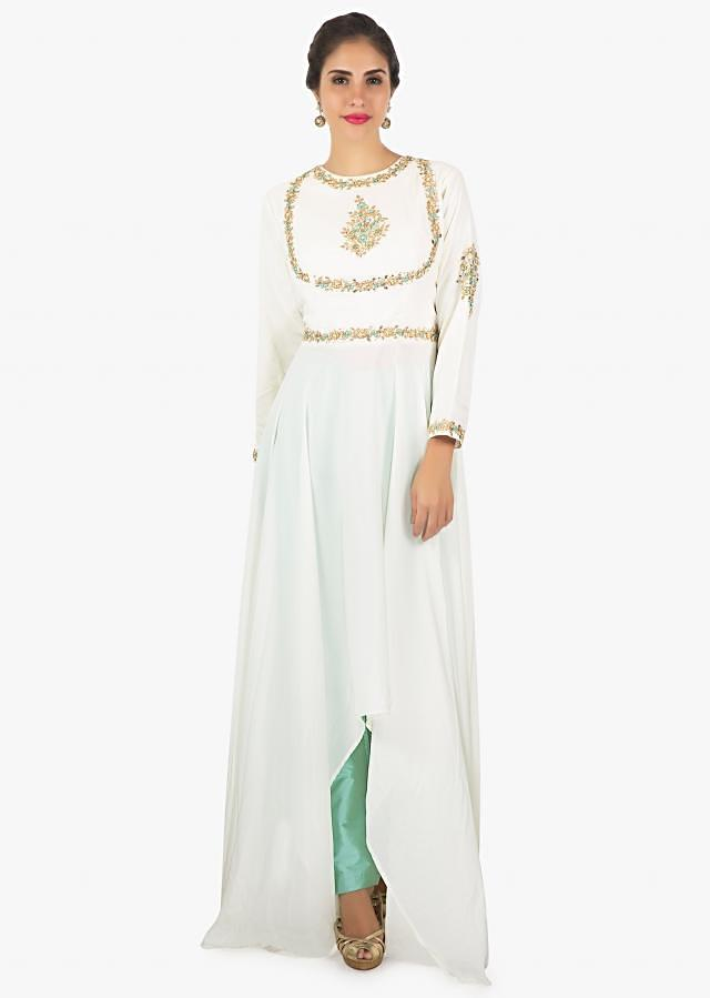 White asymmetric kurti with French knot embroidery, zardosi and gotta patch on the neck and waist line only on Kalki