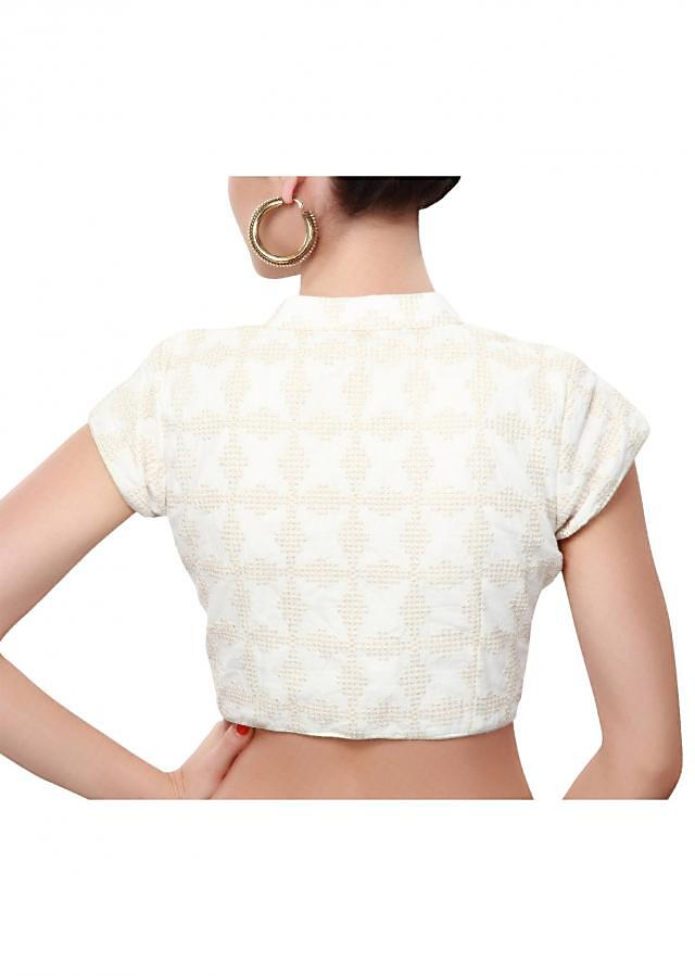 White blouse adorn in zari embroidery only on Kalki