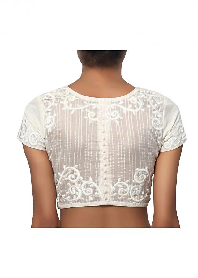 White coloured Perfect slot neck blouse in comfortable cotton