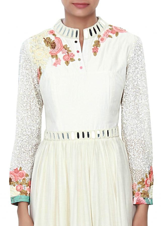 White dress embellished in applique and mirror embroidery only on Kalki