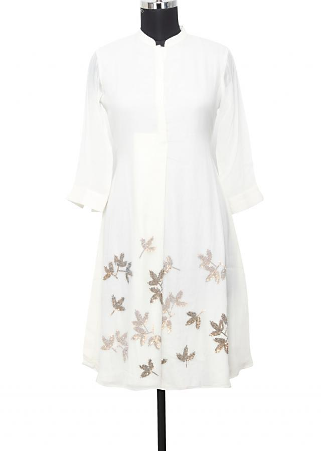 White georgette  kurti in sequin only on Kalki