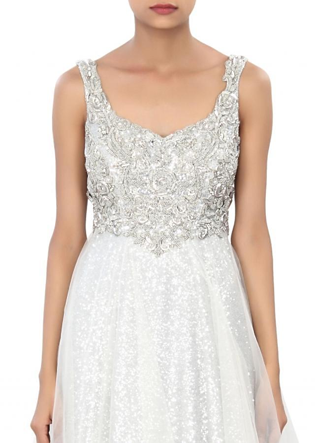White gown enhanced in sequin and kundan embroidery only on Kalki