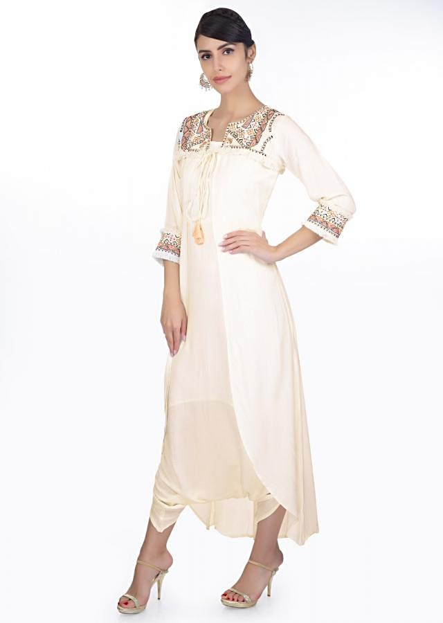 White Jump Suit Paired With An Asymmetric Embroidered Jacket Online - Kalki Fashion