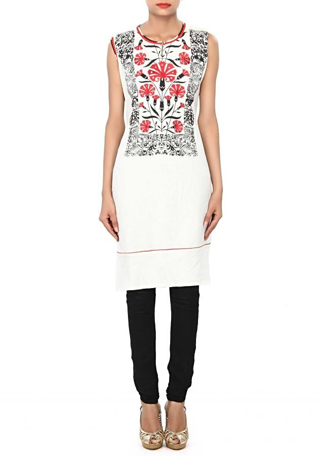 White kurti embellished in print and resham embroidery only on Kalki